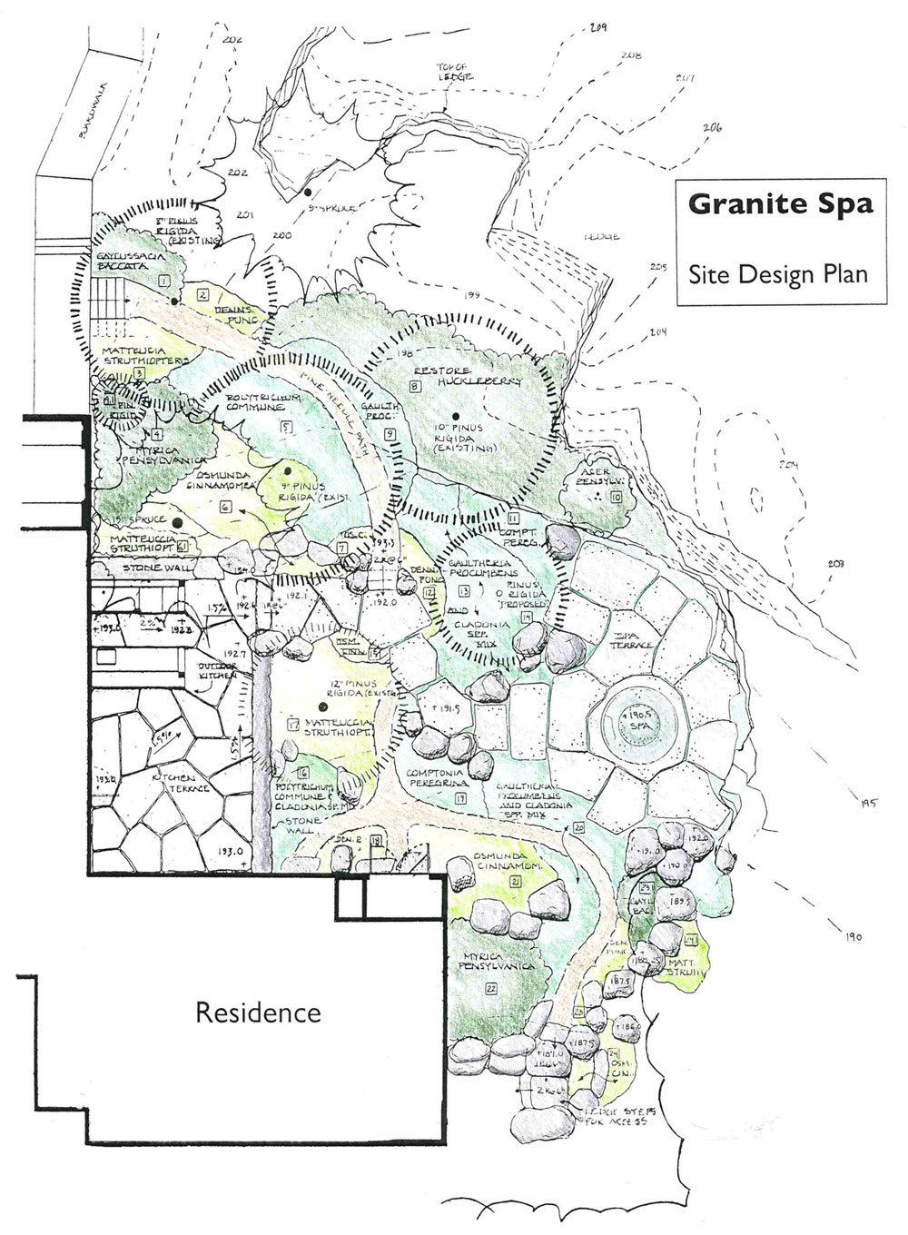 sketch schematic for granite spa landscape design