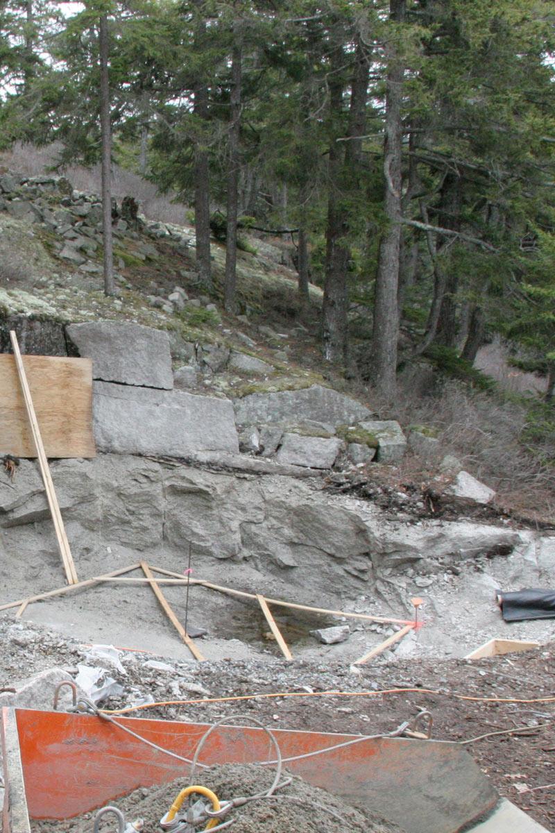 Green Spa forest, boulder ledge, excavation, landscape design,